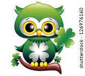 Baby Owl St Patrick Cartoon - stock photo