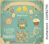Retro Card with Easter Set. Vector Illustration. - stock vector