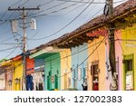 row of colorful houses in... | Shutterstock . vector #127002383