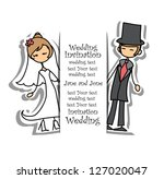 cartoon wedding picture | Shutterstock .eps vector #127020047