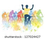 group of cyclist in the bicycle ... | Shutterstock .eps vector #127024427