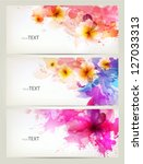 set of abstract cards with... | Shutterstock .eps vector #127033313