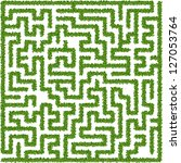 Maze made from leaves - stock vector