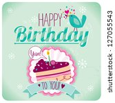 birthday card cake   Shutterstock .eps vector #127055543