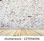 Old brick wall with white and red bricks - stock photo