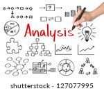 business hand writing data analysis - stock photo
