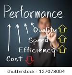 business man writing performance concept of increase quality speed efficiency and reduce cost - stock photo