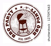Abstract grunge rubber stamp with the word BBQ party written inside the stamp, vector illustration - stock vector
