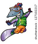 cartoon shark snowboarding | Shutterstock .eps vector #127102217