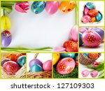 collage of easter eggs in... | Shutterstock . vector #127109303
