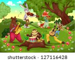 Musicians animals in the wood. Cartoon and vector illustration. - stock vector