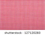 Red Checkered Fabric Closeup  ...