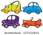 vector cartoon cars set... | Shutterstock .eps vector #127121813
