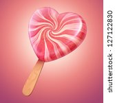 sweet pink and vanilla candy heart shaped lolly pop - stock photo