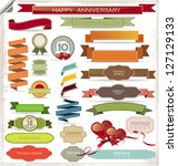 set of retro ribbons and labels | Shutterstock .eps vector #127129133