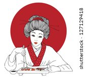 Traditional japanese pretty girl enjoy sushi. Vector illustration. Menu template - stock vector