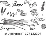 pasta collection drawings... | Shutterstock .eps vector #127132307