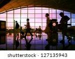 hong kong airport  travelers... | Shutterstock . vector #127135943