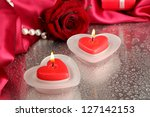 beautiful candles  rose and red ... | Shutterstock . vector #127142153