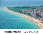 Aerial view of the seaside of Blanes in summertime. Costa Brava, Girona. - stock photo