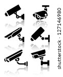 Video surveillance, new big set stickers, vector illustration - stock vector