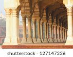 columns in palace - agra fort India - stock photo