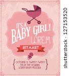 vintage baby girl invitation card template vector/illustration - stock vector