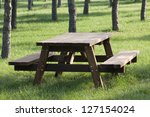 Empty picnic table - stock photo