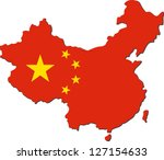 map of china with national flag ... | Shutterstock .eps vector #127154633