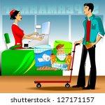 clerk issues a bill for... | Shutterstock .eps vector #127171157