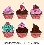 different colorful delicious... | Shutterstock . vector #127176047