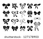 set of graphical decorative bows | Shutterstock .eps vector #127178903