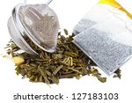 dry tea with strainer and tea... | Shutterstock . vector #127183103