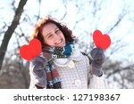romantic winter girl with two... | Shutterstock . vector #127198367