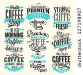 set of vintage retro coffee... | Shutterstock .eps vector #127198907