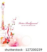 Colorful music guitar background. Vector - stock vector