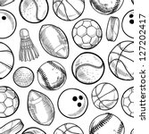 doodle style sports equipment... | Shutterstock .eps vector #127202417