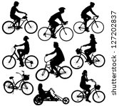 silhouette people on bikes | Shutterstock .eps vector #127202837