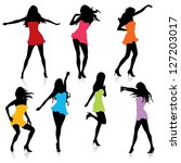 dancing females in silhouettes | Shutterstock .eps vector #127203017