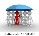 3d people - men, person under a blue umbrella. Leadership and team - stock photo