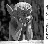 figure of angel - detail of the fountain in garden of Villa Peyron in Fiesole, Florence, Tuscany, Italy, Europe - stock photo