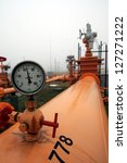 BUDAPEST - JANUARY 3: A pressure gauge shows the lack of flow of natural gas from Russia along the Brotherhood natural gas pipeline in Vecses, Hungary, on Tuesday, January 3, 2006. - stock photo