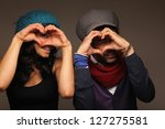 Beautiful friends posing - stock photo