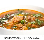 beef soup in a white bowl | Shutterstock . vector #127279667