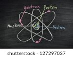 drawing of atom structure on... | Shutterstock . vector #127297037