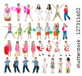 set of kids isolated on a white background - stock photo
