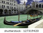 Viev of Rialto bridge in Venice, Italy - stock photo