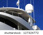 Close up of radar and night vision camera on yacht - stock photo