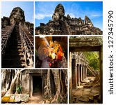 Angkor Wat - is the largest Hindu temple complex and the largest religious monument in the world. Cambodia. (Collage) - stock photo