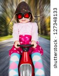 girl in retro racing hat and... | Shutterstock . vector #127348133